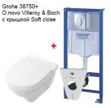 Комплект инсталляция GROHE RAPID SL 38750001 4в1+унитаз V&B O.Novo с сидением soft-close