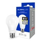 1-GBL-161 Светодиодная лампа энергосберегающая Global (A60 8W 3000K 220V E27) мягкий свет