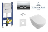 Комплект инсталляции GEBERIT DUOFIX 4в1 458.126.00.1 с клавишей 115.135.21.1 + унитаз Villeroy&Bosch O.Novo 5660H101